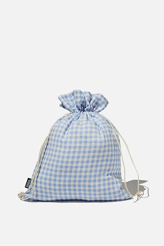 Foundation Medium Gift Bag, BLUE GINGHAM