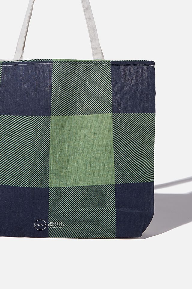 Foundation Factorie Tote Bag, HOLLY GINGHAM NAVY