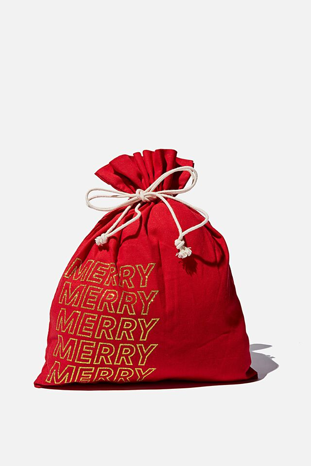 Foundation Personalised Merry Medium Gift Ba, CHRISTMAS RED