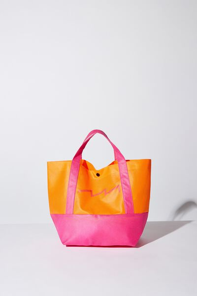 Planet Factorie Small Tote Bag, ORANGE AND PINK