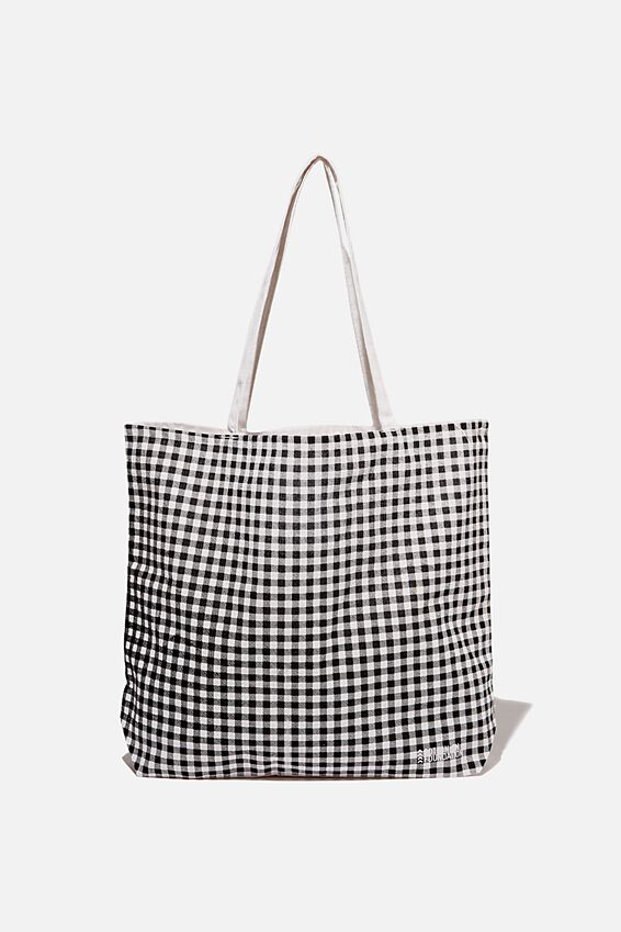 Typo Difference Tote Bag, MINI GINGHAM BLACK