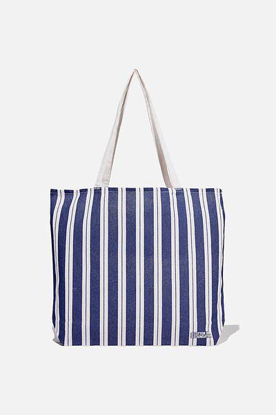 Foundation Co Brands Tote Bag, BIKEY STRIPE NAVY
