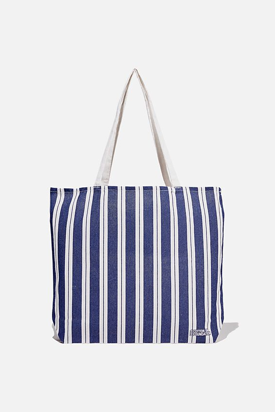 Foundation Co Brands Tote Bag, BIKEY STRIPE NAVY