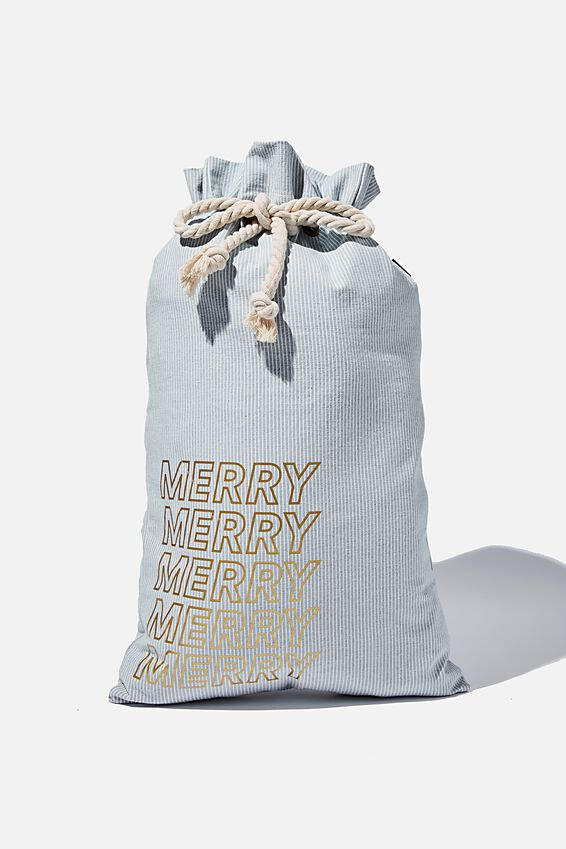 Foundation Merry Merry Santa Sack, BLUE DENIM PINSTRIPE