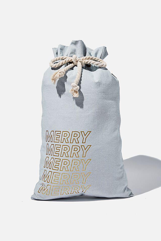 Foundation Merry Merry Santa Sack, BLUE DENIM PINSTRIPE