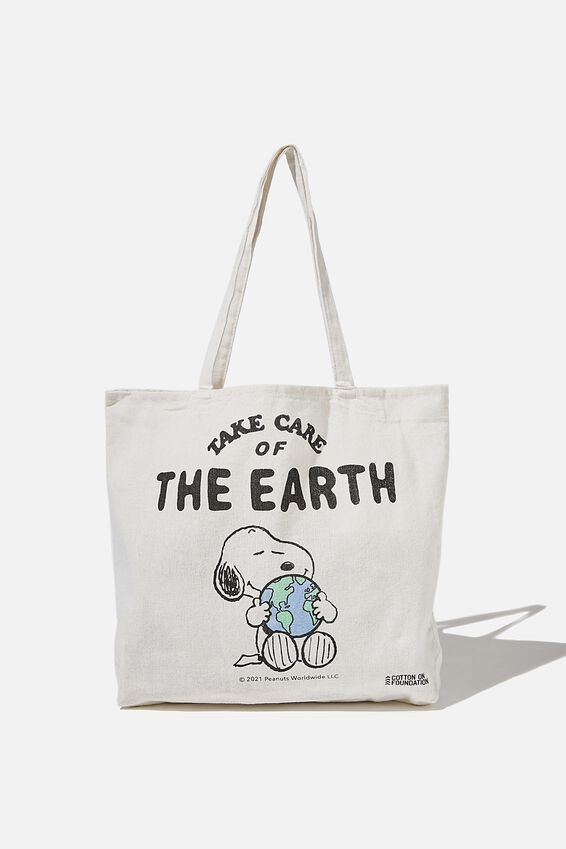 Foundation Co Brands Tote Bag, LCN PEA SNOOPY TAKE CARE OF THE EARTH