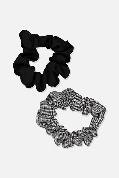 Foundation Factorie Mini Scrunchie 2 Pk, BLACK CHECK