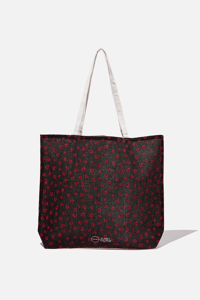 Factorie  Foundation Tote Bags, BLACK RED DITSY