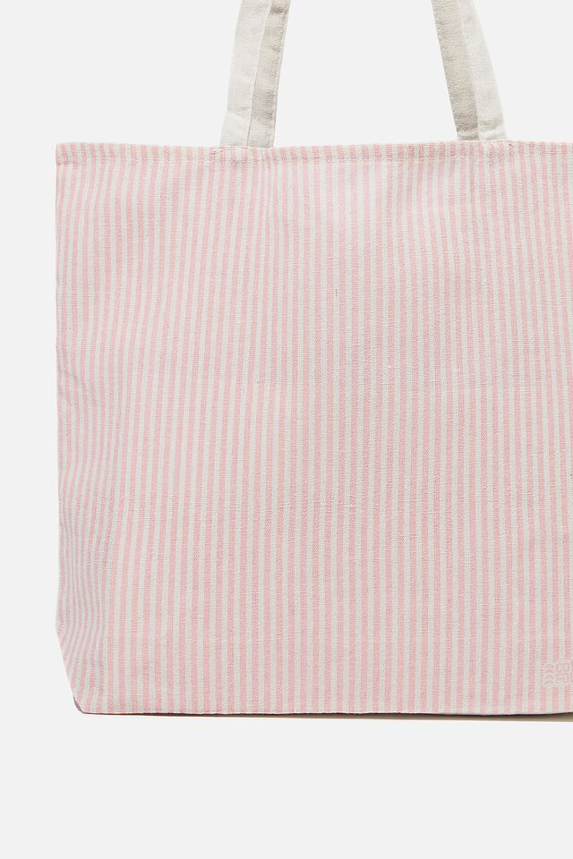 Foundation Co Brands Tote Bag, POLLY STRIPE PETAL PINK