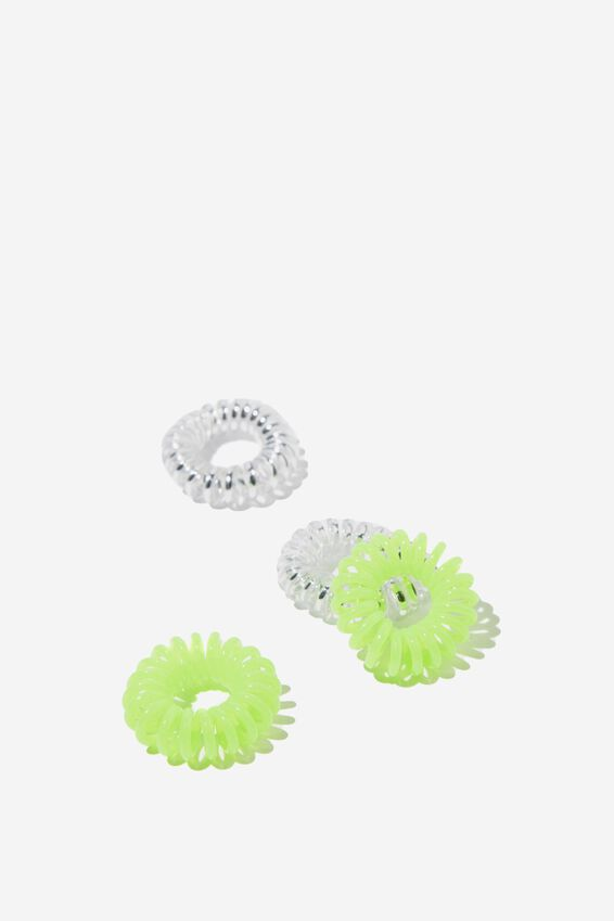Factorie Foundation  Small Coils 4 Pack, SILVER AND NEON LIME