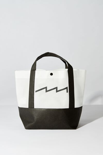 Planet Factorie Small Tote Bag, WHITE AND BLACK