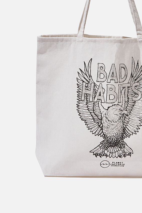 Pf Foundation Tote Bags, EAGLE BAD HABITS