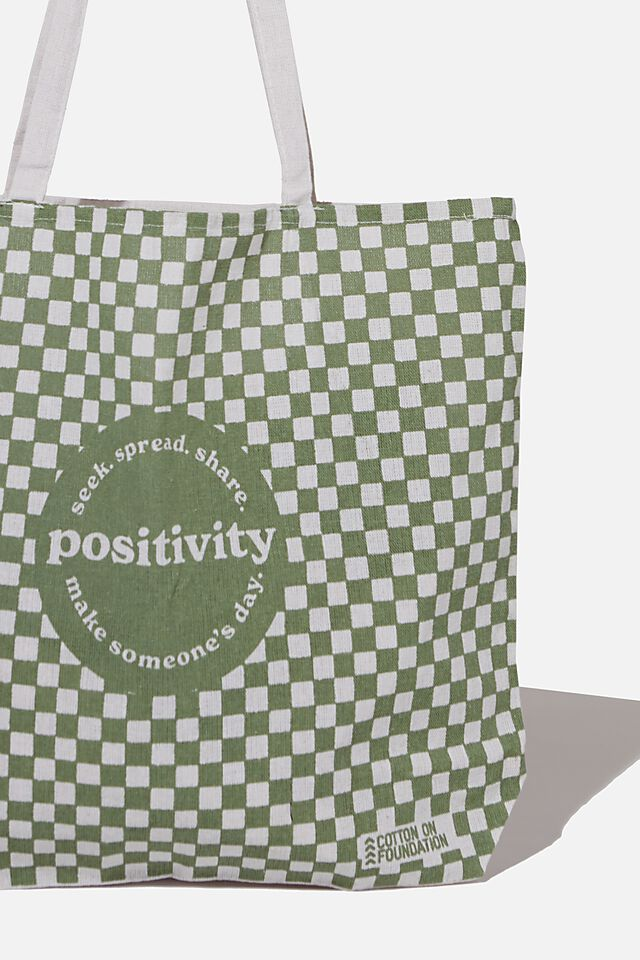 Typo Difference Tote Bag, POSITIVITY