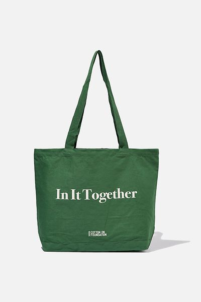 Foundation Exclusive Tote Bag, IN IT TOGETHER/HERITAGE GREEN