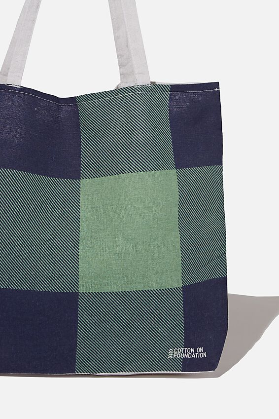 Foundation Co Brands Tote Bag, HOLLY GINGHAM NAVY