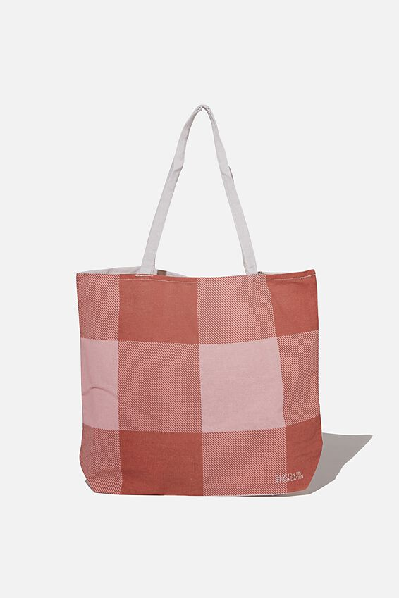 Foundation Co Brands Tote Bag, HOLLY GINGHAM EARTHY RED