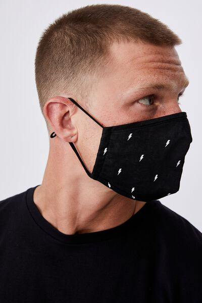 Foundation Face Mask Adults, LIGHTNING BOLT BLACK