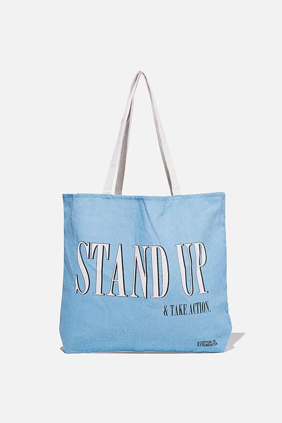 Foundation Co Brands Tote Bag, STAND UP WAVE WASH BLUE