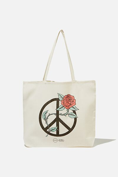 Pf Foundation Tote Bags, PEACE ROSE