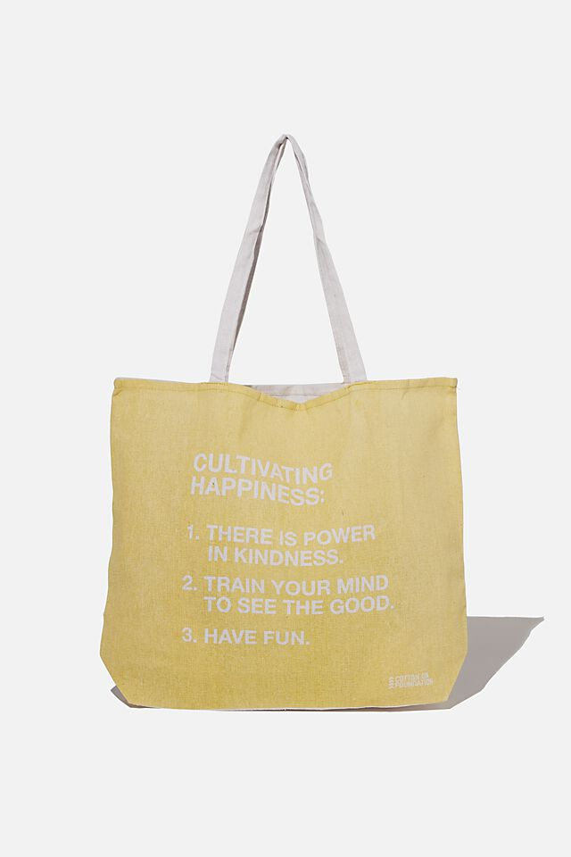 Typo Difference Tote Bag, CULTIVATING HAPPINESS