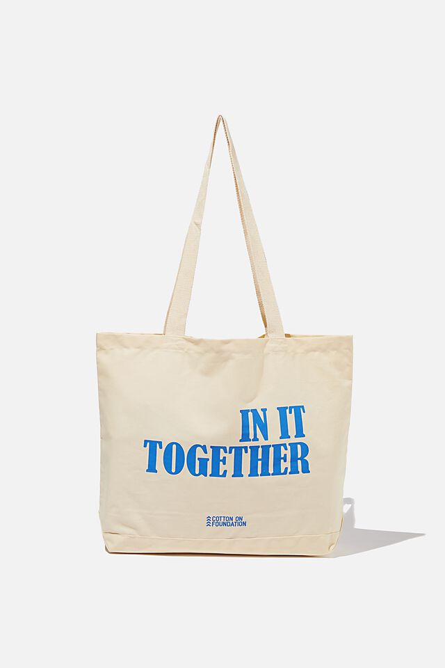 Foundation Exclusive Tote Bag, IN IT TOGETHER/BLUE TEXT