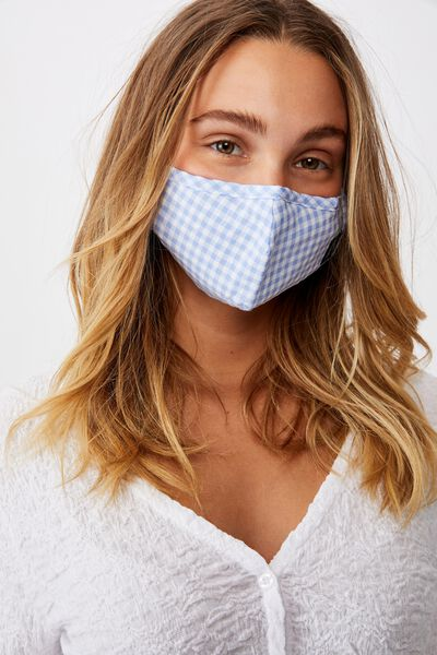 Foundation Face Mask Adults, BLUE GINGHAM