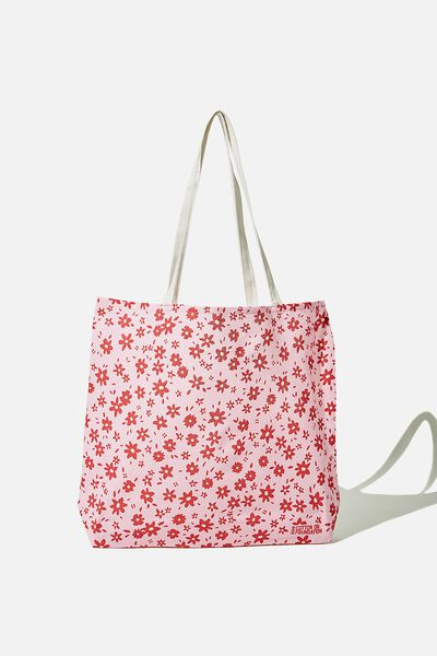 Foundation Co Brands Tote Bag, PINK AND RED DITSY