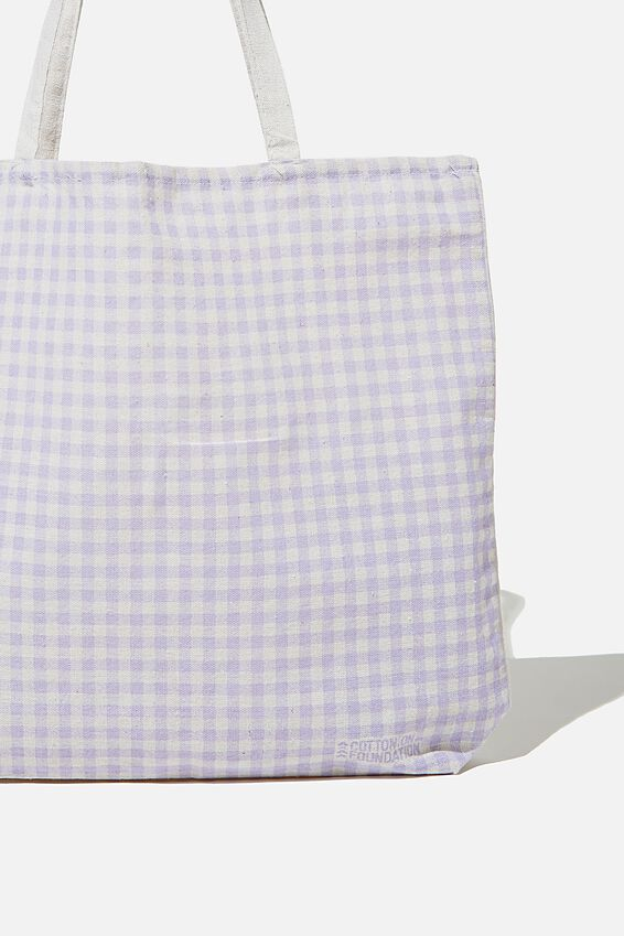 Foundation Co Brands Tote Bag, LILAC GINGHAM