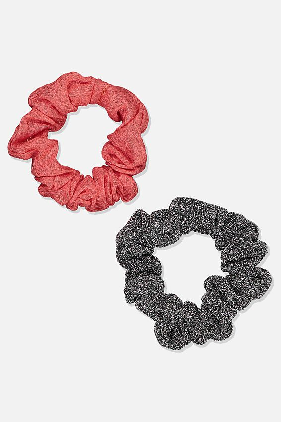 Foundation Factorie Mini Scrunchie 2 Pk, BLACK LUREX & SHELL PINK