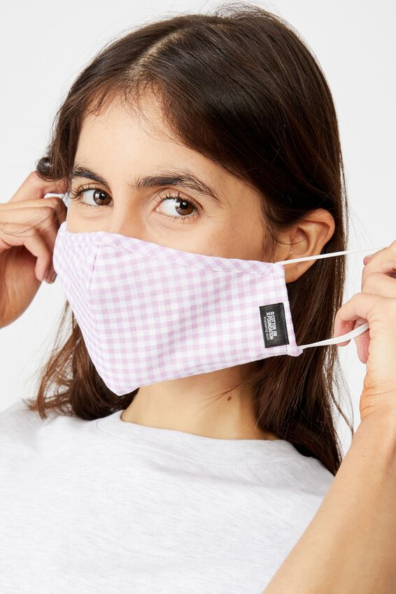 Foundation Face Mask, LILAC GINGHAM