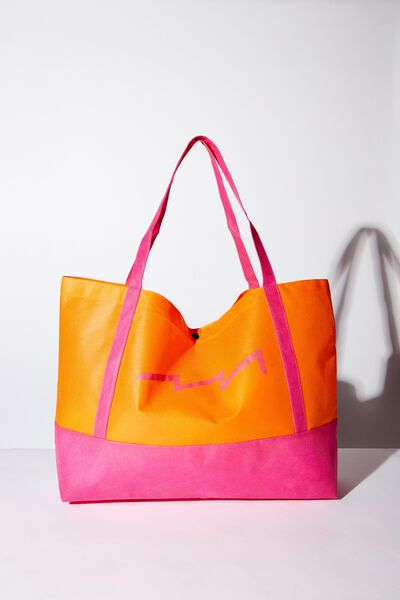 Planet Factorie O/S Shopping Bag, ORANGE AND PINK