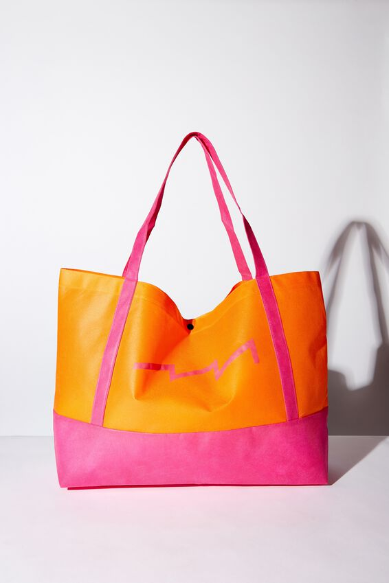 Planet Factorie Tote Bag, ORANGE AND PINK