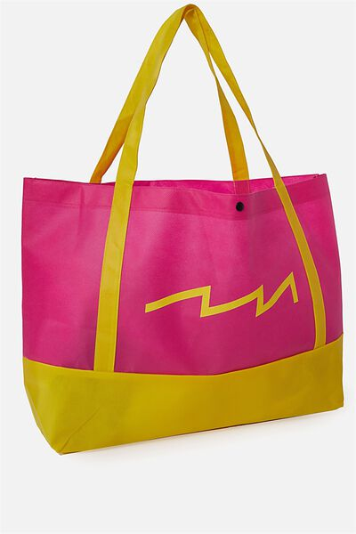 Planet Factorie O/S Shopping Bag, PINK AND YELLOW