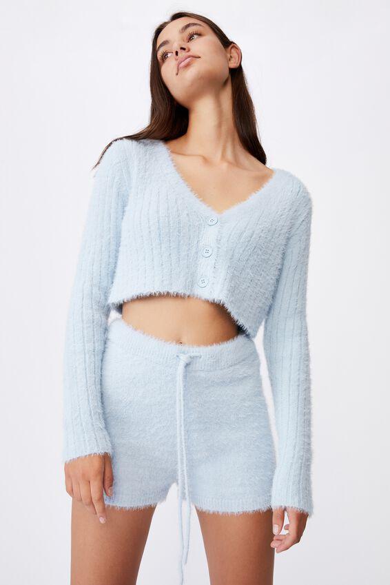 Fluffy Knit Super Crop Cardi, SKYWAY BLUE