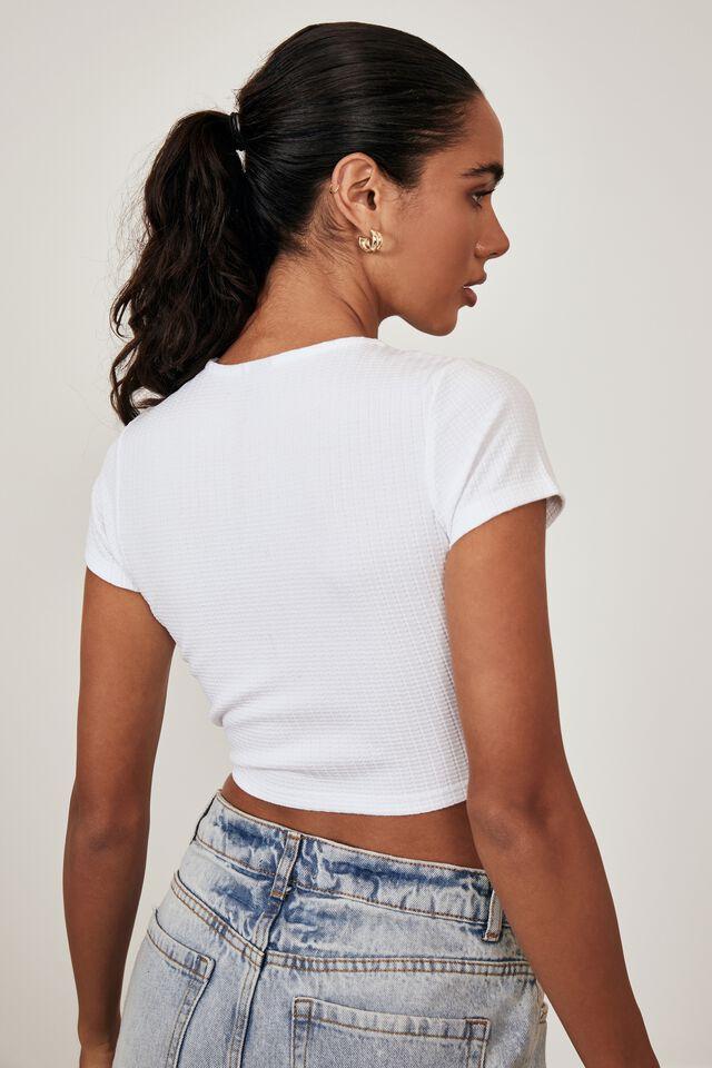 Short Sleeve Ruched V Neck Top, WHITE