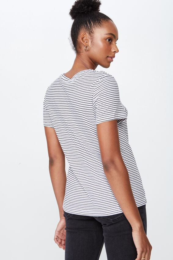 Basic T Shirt Stripe, FRANKIE STRIPE_WHITE BLACK