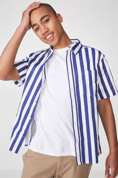 Ss Oversized Shirt, ULTRA BLUE STRIPE