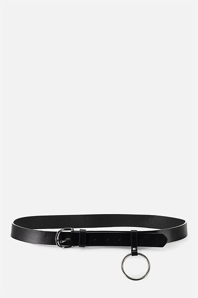 Belt W/ Loop & Ring, BLACK/SILVER
