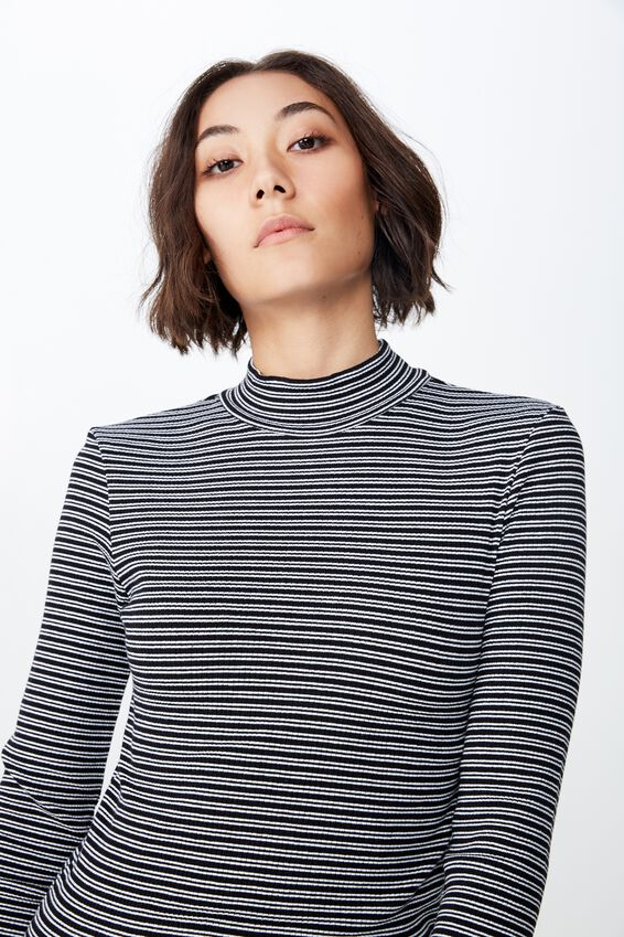 Stripe Rib Lettuce Edge Long Sleeve, HUXLEY STRIPE_BLACK
