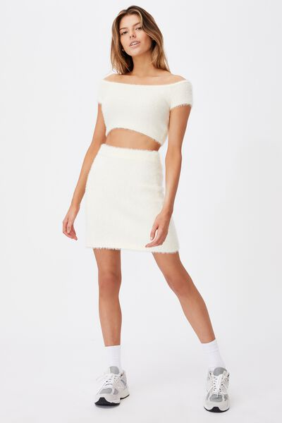 Knit Mini Skirt, IVORY