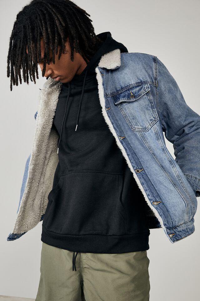 Denim Sherpa Jacket, WASHED INDIGO