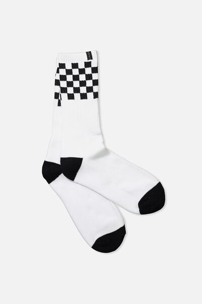 Retro Ribbed Socks, WHITE/BLACK CHECK