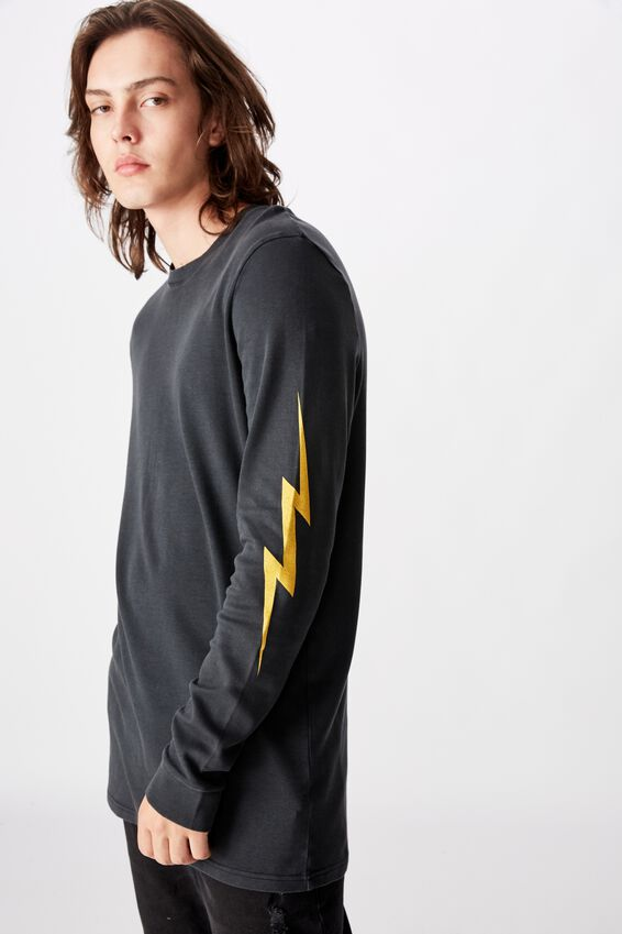 Slim Long Sleeve Graphic T Shirt, WASHED BLACK/LIGHTNING