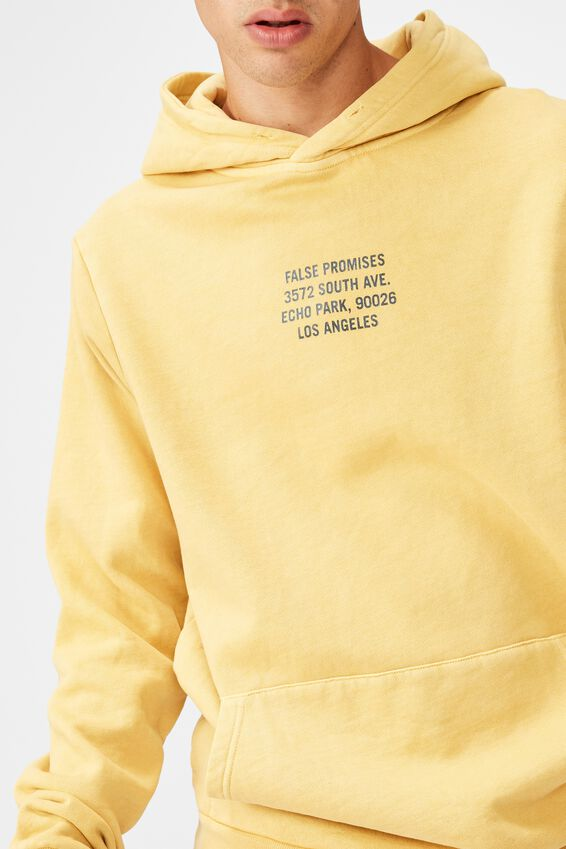 Graphic Hoodie, WASHED YARROW/FALSE PROMISES