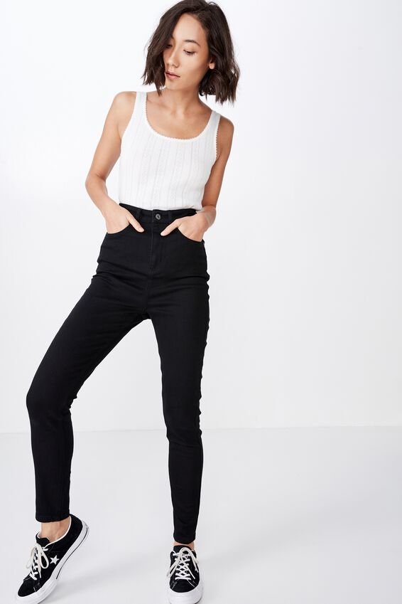 The Skinny Super High Waisted Jean, BLACK