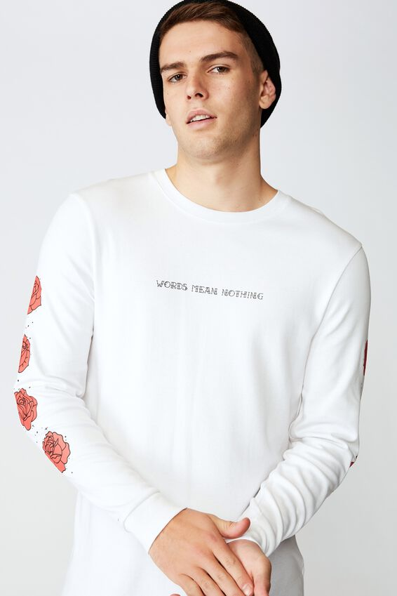 Slim Long Sleeve Graphic T Shirt, WHITE/WORDS MEAN NOTHING