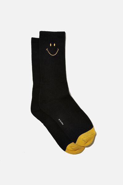 License Retro Rib Socks, LCN SMI SMILEY BLACK