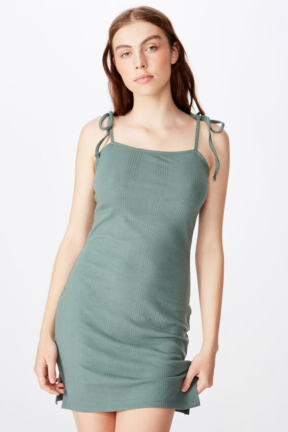 Side Split Dress, FOREST KHAKI