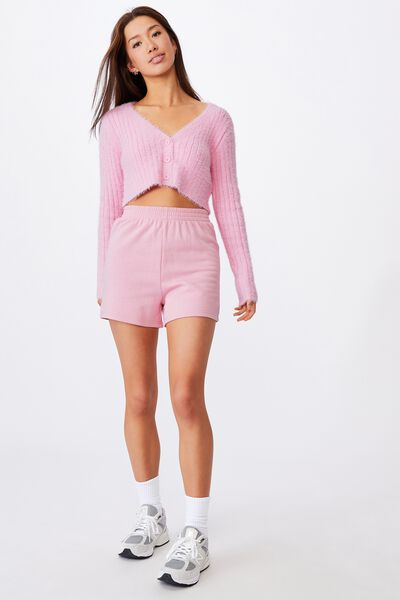 Fluffy Knit Super Crop Cardi, BABE PINK