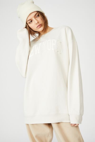 Oversized Graphic Crew, IVORY/NEW YORK